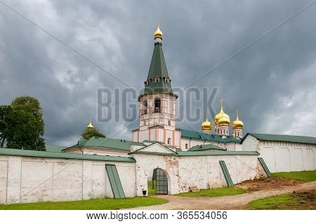 Valdai Iversky Svyatoozersky Virgin Monastery For Men. Selvitsky Island, Valdai Lake. Bell Tower And