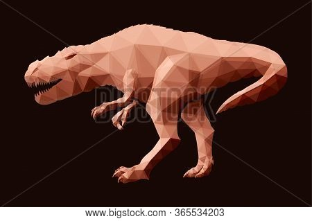 Beautiful Low Poly Illustration With Red Tyrannosaurus Silhouette On The Dark Brown Background