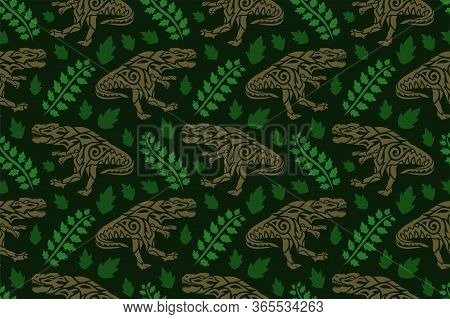 Beautiful Prehistoric Seamless Pattern With Brown Tribal Tyrannosaurus Silhouettes And Green Leaves