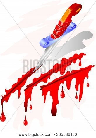Stylized Drawing On Which The Knife Makes Incisions And Blood Flows, Tattoo, Isolated Object On A Wh