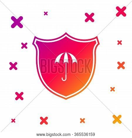 Color Waterproof Icon Isolated On White Background. Shield And Umbrella. Water Protection Sign. Wate