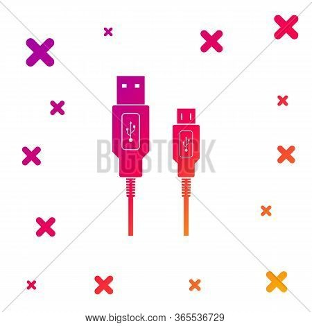 Color Usb Micro Cables Icon Isolated On White Background. Connectors And Sockets For Pc And Mobile D
