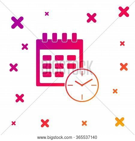 Color Calendar And Clock Icon On White Background. Schedule, Appointment, Organizer, Timesheet, Time