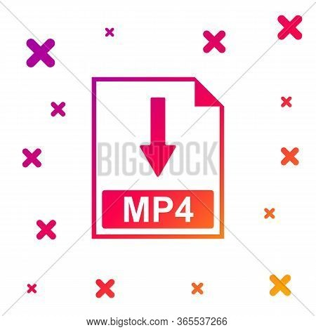 Color Mp4 File Document Icon. Download Mp4 Button Icon Isolated On White Background. Gradient Random