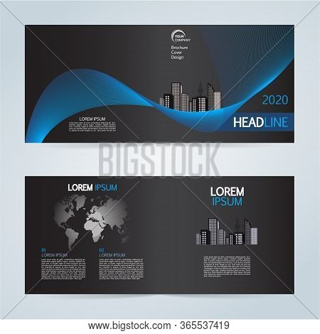 Set Of Vector Template Bi Fold Brochure With City In Blue Color On Black Background