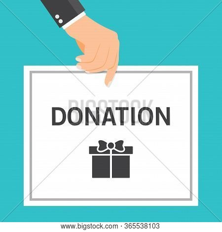 Vector Illustration Of A Businessman Holding A Donation Card. Suitable For Charity Campaigns, Social