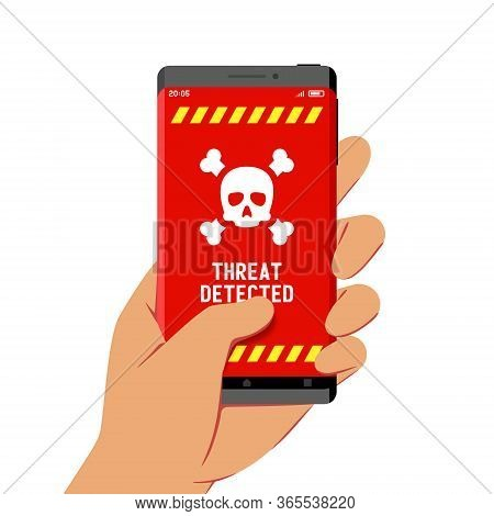 Hand Holding Smartphone With Malware Threat Detection Warning On Its Screen, Flat Design Style Illus