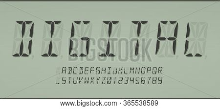 Digital 16-segmented Lcd Display Font In Calculator Style, Letters And Numerals