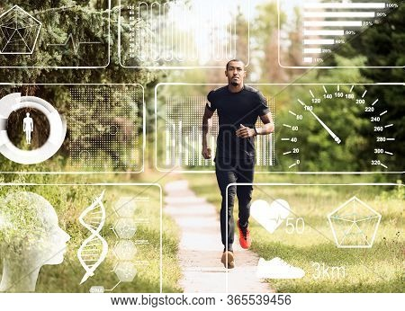 Collage With African American Sportsman Jogging In Park And Health Monitoring Data On Imaginary Scre
