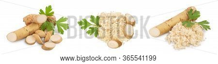 Horseradish Root With Slices And Parsley Isolated On White Background. Set Or Collection