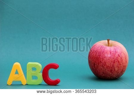 English Abc Alphabet Letters Next To Apple. Learning Foreign Language. English For Beginners.