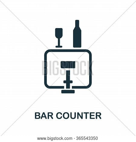 Bar Counter Icon. Simple Illustration From Night Club Collection. Creative Bar Counter Icon For Web