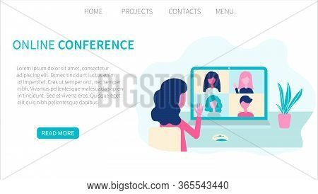 Video Conference. People Group, Virtual Meeting. Online Communication Vector Concept In Flat Design.
