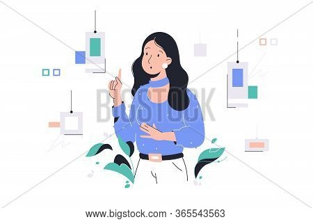 Thinking Attractive Woman Designer Selection Color At Work. Concept Female Employee Character Choosi