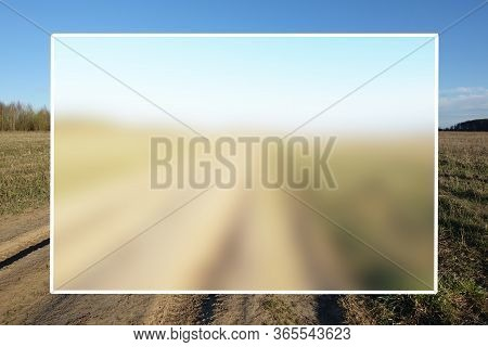 White Field For An Inscription On A Background Of A Rural Landscape With A Dirt Road