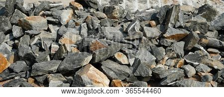 Pile Of Rocks I.e. Lithium Mining And Natural Resources Like Limestone Mining In Quarry. Natural Zeo