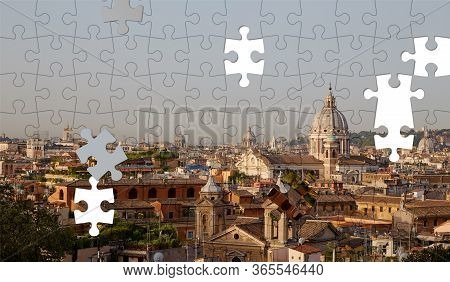 Assorted Jigsaw Puzzle Of Rome Skyline Sunrise With Clear Blue Sky