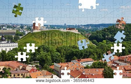 Assorted Jigsaw Puzzle Of Vilnius Panorama With A View Of The Castle Mountain In A Summer Sunny Day