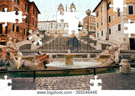 Assorted Jigsaw Puzzle Of Spanish Steps In The Plaza Of Spain In Rome In The Early Morning Without P