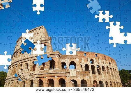 Assorted Jigsaw Puzzle Of Colosseum Against The Blue Sky In Rome, Italy