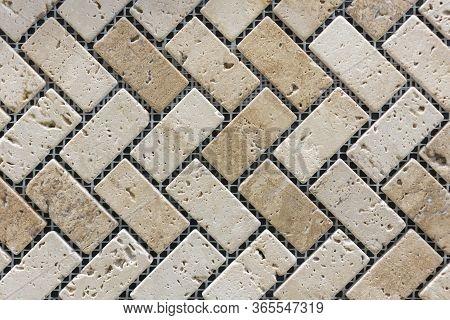 Porcelain Mosaic Beige Background Texture. Ceramic Tiles For Decoration. Beige Color. Beige Decorati