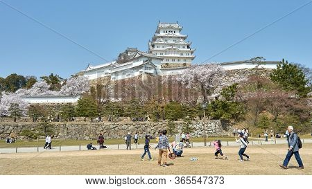 Himeji / Japan - March 31, 2018: People Enjoying In Himeji Castle Park During The Sakura Cherry Blos