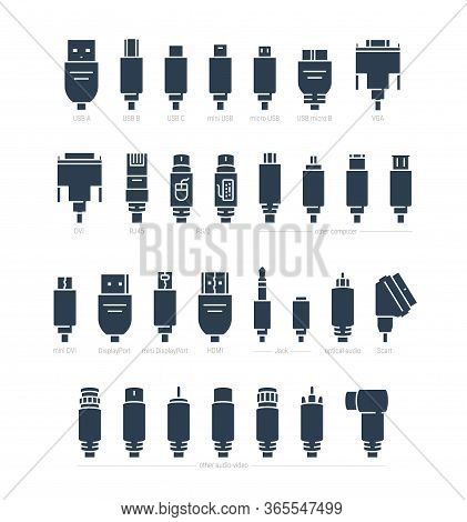 Audio, Video And Computer Cable Connectors Vector Icon Set In Glyph Style
