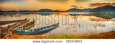 Panorama of a Lak lake at sunrise