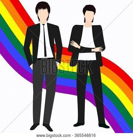 Lgbt Movement Rainbow Pride Ribbon - Two Interesting Young Guys - Colorful Illustration - Vector. Ga