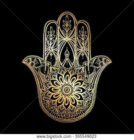 Ornate Hand Drawn Hamsa. Popular Arabic And Jewish Amulet In Gold And Black. Vector Illustration.