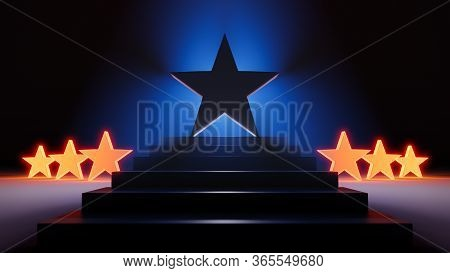 A 3d Illustration Of A Large, Bold Star Standing Triumphantly Atop Dark Steps And Brilliantly Backli