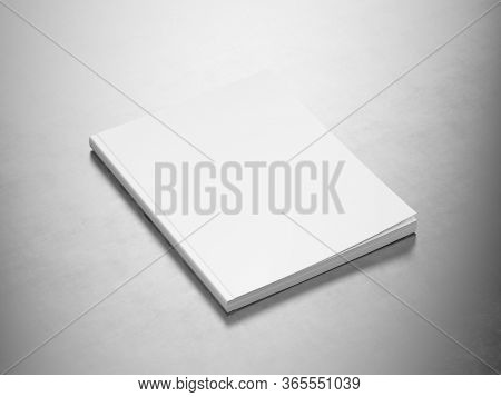 Magazine - Blank White Cover Of Magazine on Metallic Surface. Mock Up Template of Magazine, Book, Brochure, Booklet. 3d Rendering