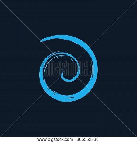 Blue Spiral Twirl Shape Cycle Creative Symbol. Wave Icon. Spiral Brush Stroke Element. Round Shape.