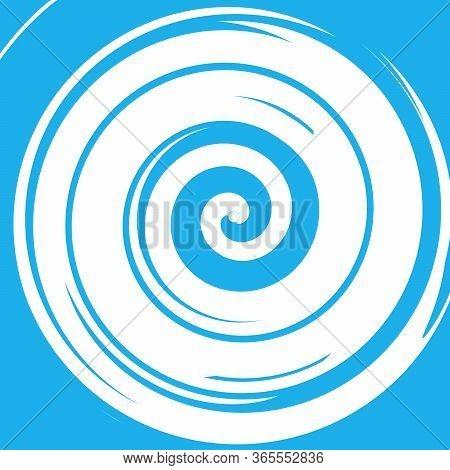 Blue Vector Radial Curve Spiral Twirl Background. Hypnotic, Dynamic Vortex Object. Stock Vector Illu