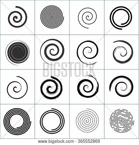 Design Elements With Spiral Twirl Motion. Vector Set. Stock Vector Illustration Isolated On White Ba