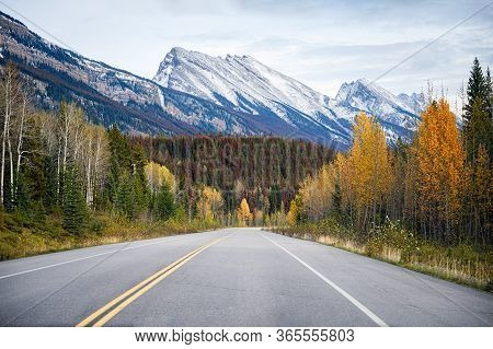Road Trip On Highway With Rocky Mountains In Autumn Forest At Banff National Park, Canada