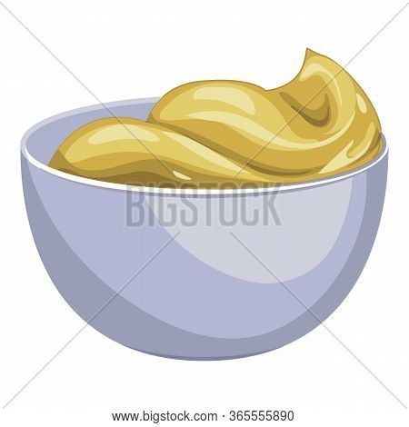 Mustard Sauce Bowl Icon. Cartoon Of Mustard Sauce Bowl Vector Icon For Web Design Isolated On White