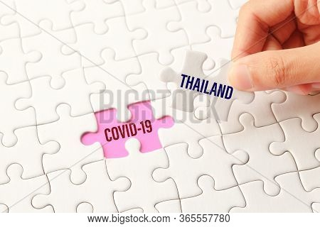 The Thailand Word On White Jigsaw Puzzle Go To Replace Covid-19 Word On Purple Gap - Idea Answer Con