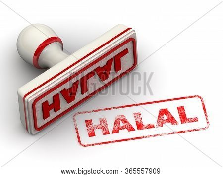Halal. The Seal. The White Seal And Red Imprint Halal On White Surface. 3d Illustration