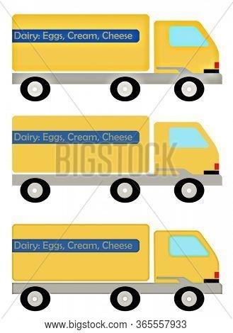 Illustration Essential Trucking Service Dairy Truck. Dairy: Eggs, Cream, Cheese.