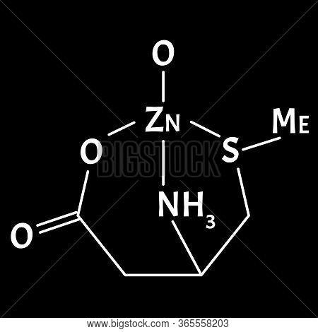 Zinc Monomethionine Is A Molecular Chemical Formula. Zinc Infographics. Vector Illustration On Isola