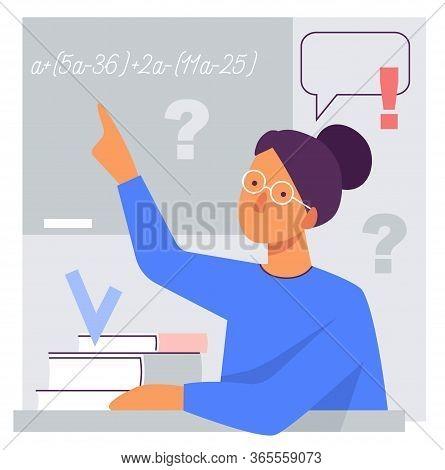 Flat Stylized Illustration Of A Teacher At The Blackboard