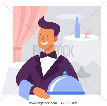 Waiter With A Dish. Flat Vector Illustration