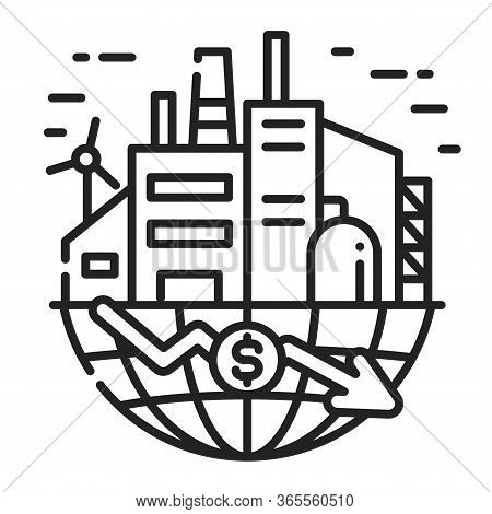 Economic Crisis In World Black Line Icon. Bankruptcy. Collapse Business. Markets Plunging. Sign For