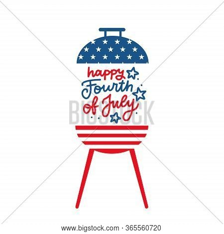 Bbq Grill Party Invitation Card Template. Flat Design Icon Star And Strip Pattern Happy Independence