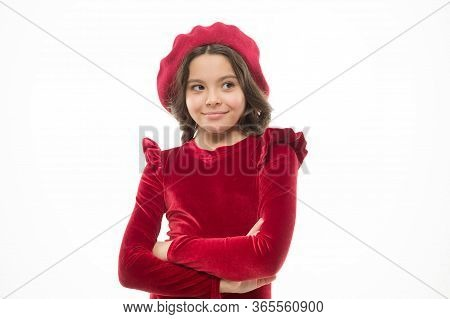 Perfect Female. Small Beauty Isolated On White. Kid Has Perfect Skin And Hair. Parisian Lady. Happy