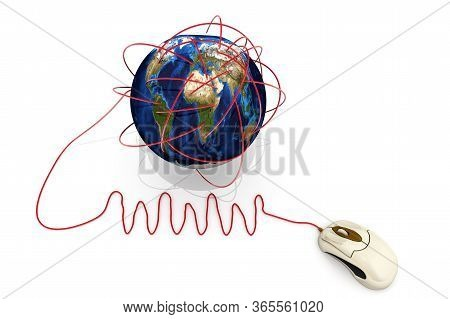The World Wide Web. Computer Mouse And Globe With The Abbreviation Www On A White Surface. 3d Illust