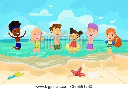 Children Jumping On Beach. Happy Cheerful Kids. Outdoor Recreation. Activity Nature Leisure. Sea San
