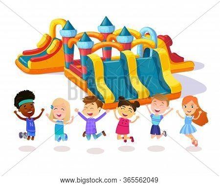 Castle Child Playground. Happy Friends. Children Jumping On Playground.