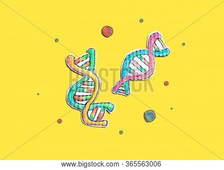 Dna Sequencing Theme With Cardboard Craft Drawings - Flatlay